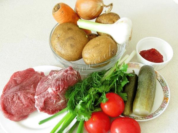 Азу по-татарски с солеными огурцами: пошаговый рецепт с фото