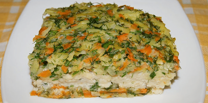 Минтай с рисом в духовке